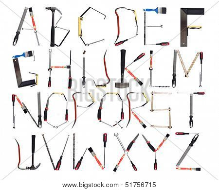 Tools forming the alphabet isolated against a white background