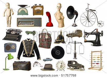 Collage of Vintage products isolated on white background