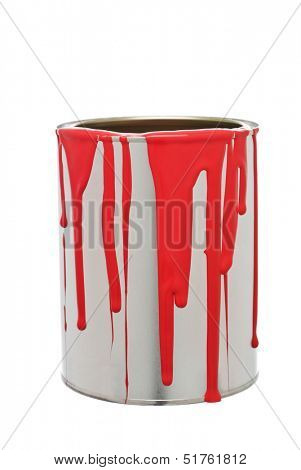 Paint Can with Red spill isolated on white background
