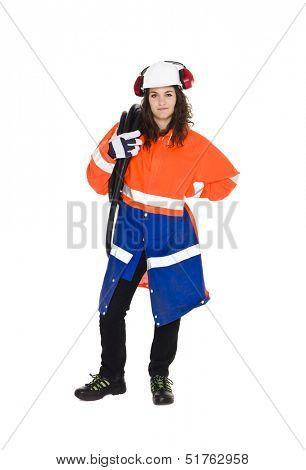 Female Constructionworker isolated on white background