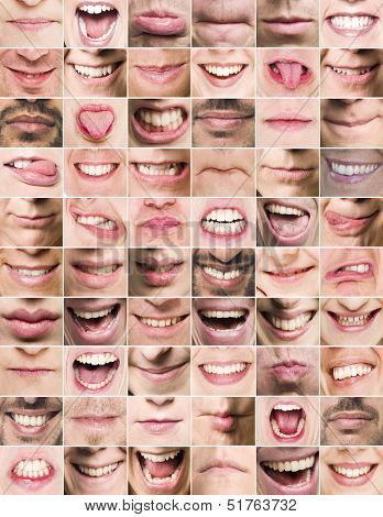 Collage of mouths with different expressions