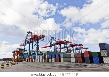 Large group of Cargo Containers at the commercial dock