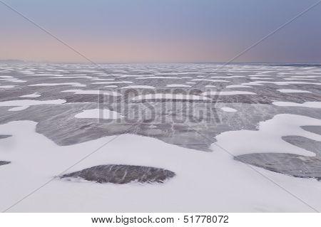 Snow And Wind Texture On Frozen Ijsselmeer Lake