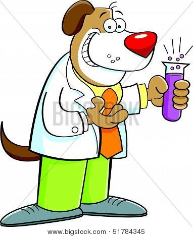 poster of Cartoon illustration of a dog holding a test tube.