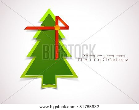 Merry Christmas celebration greeting card or background with glossy green Xmas Tree wrapped in red ribbon. poster