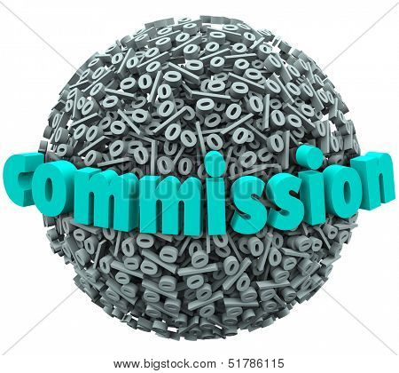The word Commission on a 3d ball or sphere of percentage signs or symbols to illustrate earning a special bonus payment through sales or referrals