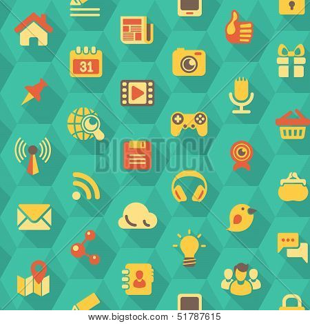 Seamless pattern of flat social networking icons in turquoise hexagons with long shadows poster