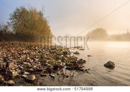 Horizontal River Pebble Beach In Foggy Morning