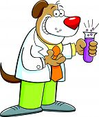 Cartoon illustration of a dog holding a test tube. poster