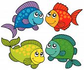 Cute cartoon fishes collection - vector illustration. poster