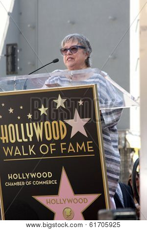 LOS ANGELES - MAR 17:  Kathy Bates at the Kate Winslet Hollywood Walk of Fame Star Ceremony at W Hotel on March 17, 2014 in Los Angeles, CA
