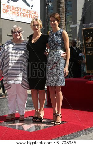LOS ANGELES - MAR 17:  Kathy Bates, Kate Winslet, Shailene Woodley at the Kate Winslet Hollywood Walk of Fame Star Ceremony at W Hotel on March 17, 2014 in Los Angeles, CA