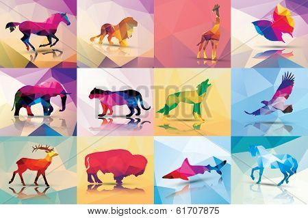 Collection of geometric polygon animals, patter design, vector illustration