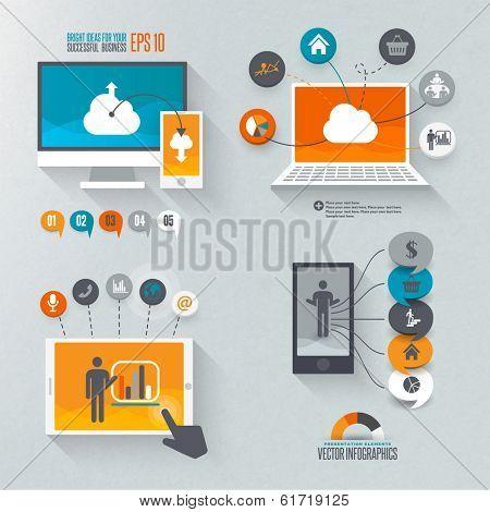 Flat design set for marketing