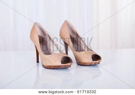 High Heeled Beige Shoes