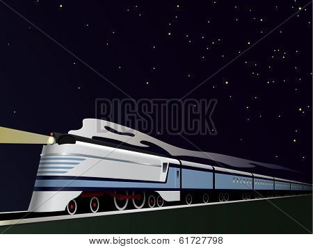 Vintage streamlined train vector illustration. Retro style steam train under starry night sky.