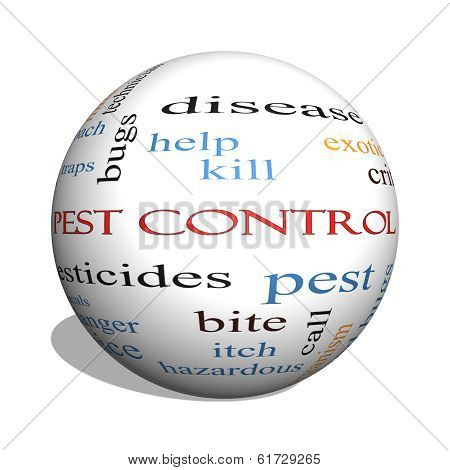 Pest Control 3D sphere Word Cloud Concept with great terms such as bugs poison rates and more. poster