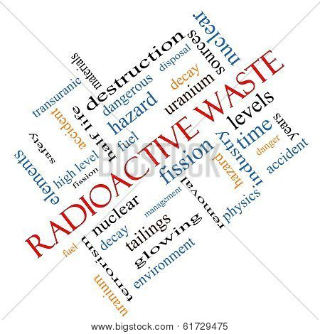 Radioactive Waste Word Cloud Concept Angled