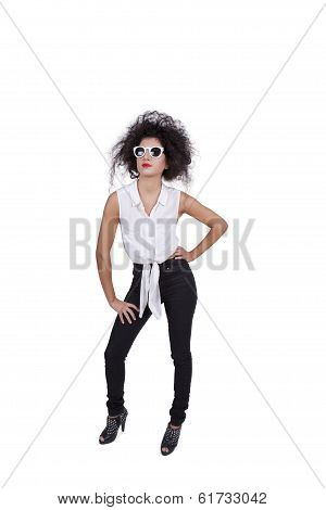Attractive female posing with sunglasses