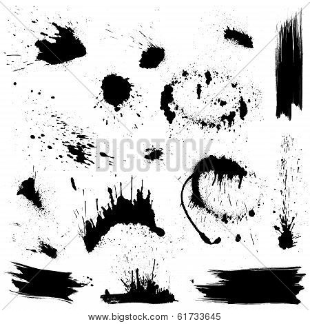 Set of black blots and ink splashes. Abstract elements for design in grunge style. poster