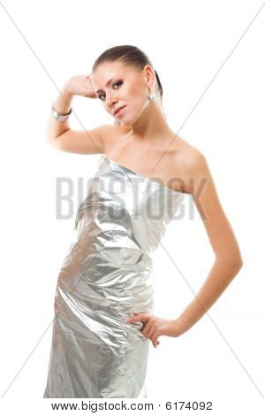 Beautiful Woman In Silver Futuristic Clothes