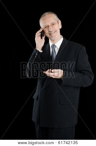 Amiable And Smiling Businessman On Phone