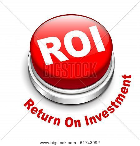 3d illustration of roi (return on investment) button isolated white background poster