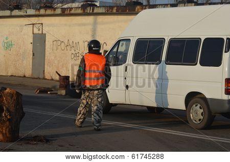 KIEV, UKRAINE - FEB 24, 2014: Traffic regulation point,created people Self defense of Kiev.Troeshina district . Riot in Kiev and Western Ukraine