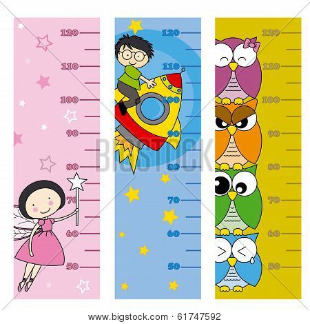 children height meter. Fairy, owls and rocketb poster