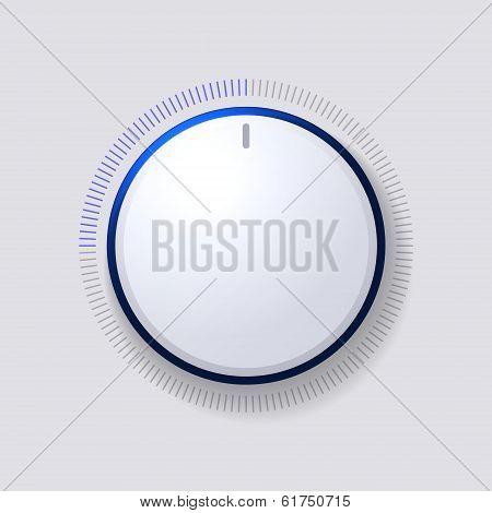 Volume Control Dial White Button Vector illustration