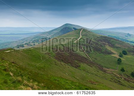 View Along Mam Tor Derbyshire England With Stormy Sky