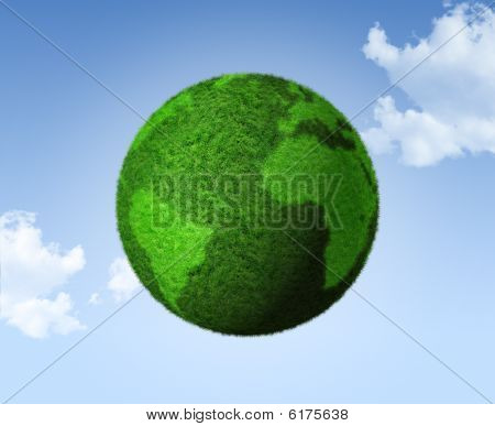 3D Green Grass Globe On A Blue Sky