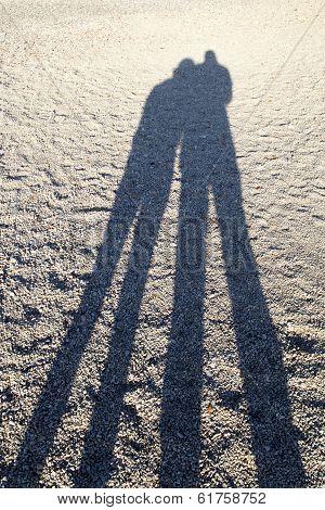 Shadows on the sandy  beach