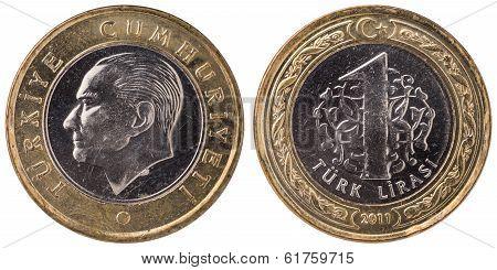 1 Turkish Lira Coin, 2011, Both Sides