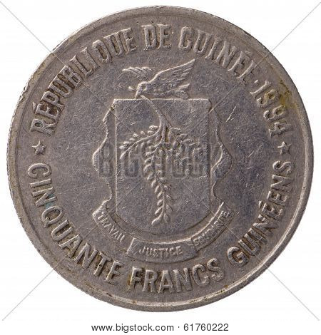 50 Guinean Franc Coin, 1994, Face