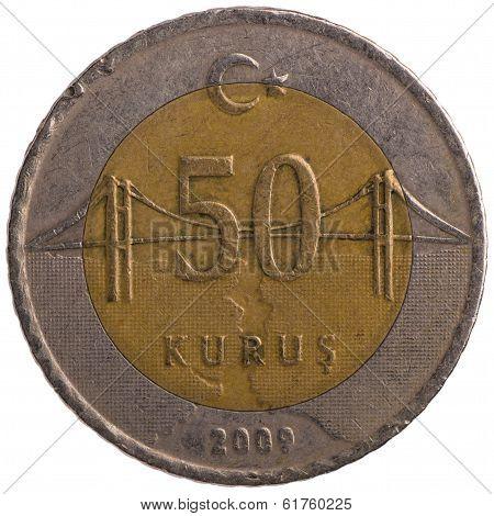50 Turkish Kurus Coin, 2009, Back