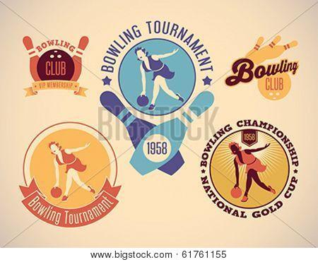 Set of vintage styled bowling tournament labels. Editable vector illustration.