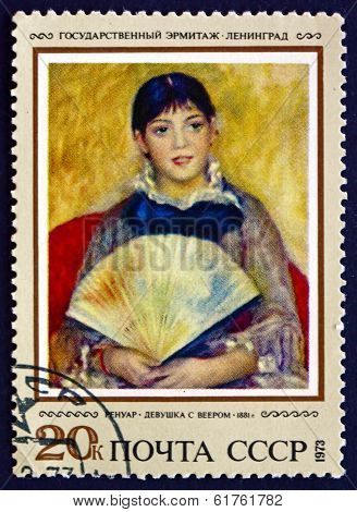 Postage Stamp Russia 1973 Girl With Fan, By Auguste Renoir
