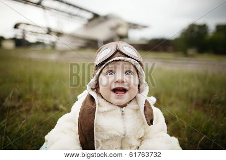sweet baby dreaming of being pilot