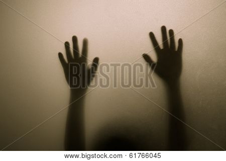 Shadow hand of child
