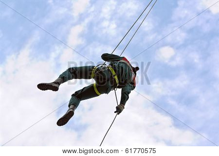 Rescue Worker In Action