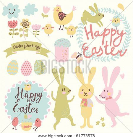 Happy Easter vector set in vector. Funny rabbits, eggs, chicken, text, tasty cake in stylish colors. Concept holiday spring cartoon collection