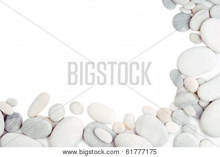 white pebble stone frame