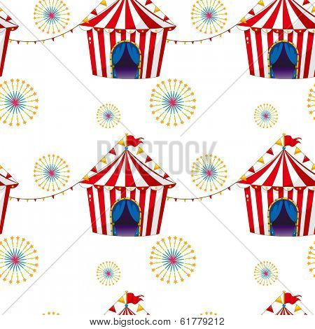 Illustration of a seamless design with carnival tents on a white background