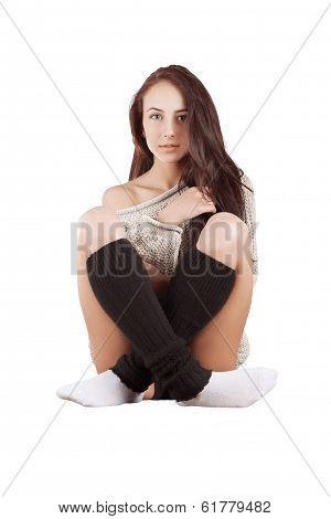 Girl In Sweater Sitting