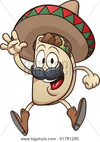 Cartoon taco wearing a sombrero. Vector clip art illustration with simple gradients. Taco and sombrero on separate layers.  poster