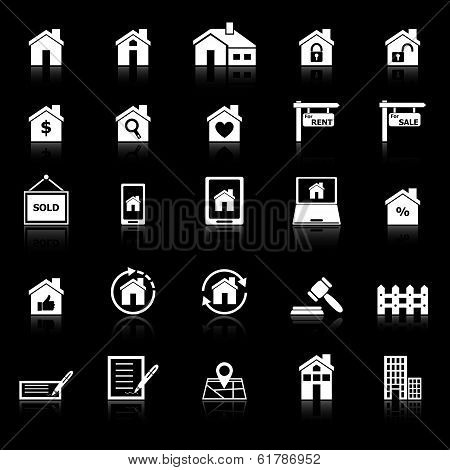 Real Estate Icons With Reflect On Black Background