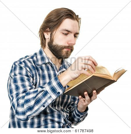 Young Man With a Beard Reading The Book