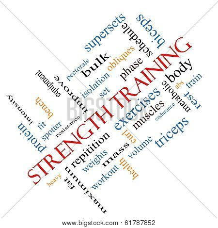 Strength Training Word Cloud Concept Angled