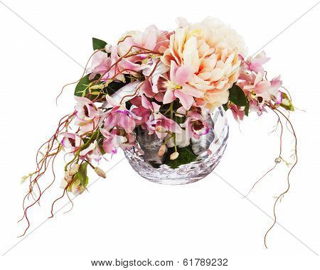 Bouquet From Peon Flowers And Orchids.